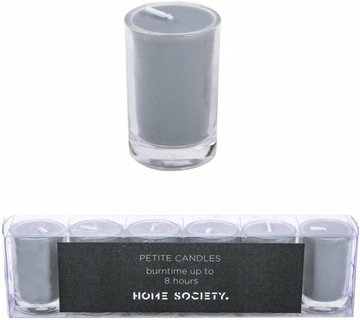 Home Society - Votive Mini Candle - Grey - set van 6