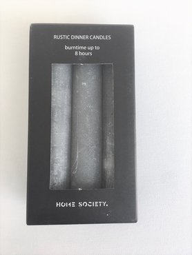 Home Society Rustic dinner candles Grey